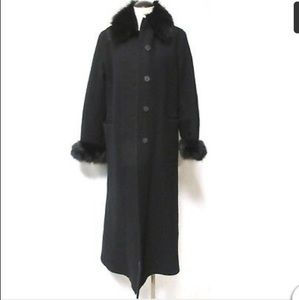 Boiled wool black women coat